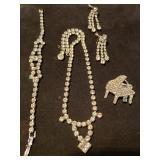 Vtg Rhinestone Jewelry