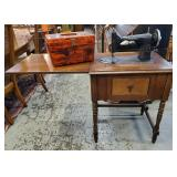 Vtg Sewing Machine Table + Notions