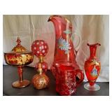 Assorted Cranberry Hand-Painted Glass Fenton