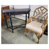 Bombay Co. Console Table & Bamboo Chair