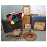 Vtg Suitcases, Quilt, Photographs +