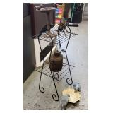 Vtg Wire Plant Stand, Bird Feeder +