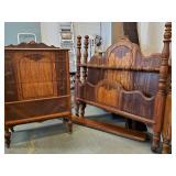 Art Deco Mahogany Full Bed, Dresser - Set