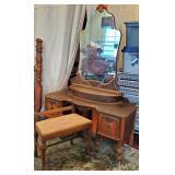 Art Deco Mahogany Vanity + Bench - Set