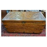 Atq Asian Carved Teak + Cedar Lined Trunk