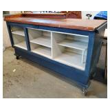 Painted Work Bench on Casters