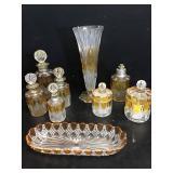 Vtg Bohemian Glass Vanity Set