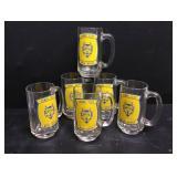 Vtg Henry Clay HS Glass Mugs 6