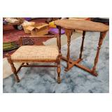 Vtg Side Table + Bench