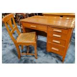 Vtg Walnut Desk & Chair