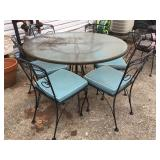 Vtg Wrought Iron Table & Chairs