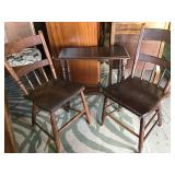 Atq Wood Chairs & Accent Table