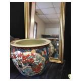 Framed Mirror & Asian Cachepot