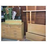 MCM Blonde Wood Dresser & Bed - Set