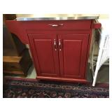 Red Painted Stainless Kitchen Cart