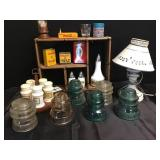 Vtg Insulators, Tins, Spice Jars