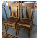 Vtg Slat Back Chairs w/Leather
