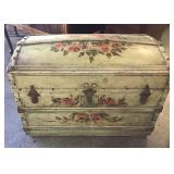 Vtg Tole Painted Trunk