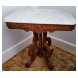 Atq Eastlake Marble-Top Table