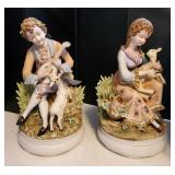 Lg Atq Pair Porcelain Figurines