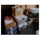 Tubs/Boxes w/Office, Wrapping, Candles 10+