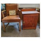 Vtg Chair, Cabinet, & Print