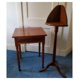 Vtg Cherry Side Table + Corner Stand