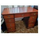 Vtg Walnut Kneehole Desk