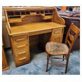 Atq Oak Roll Top Desk + Chair