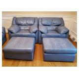 Blue Leather Chairs w/Ottomans - Set