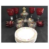Hand Blown Red Goblets +