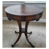 Leather-Top Drum Table