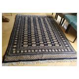 Lg Wool Persian Navy Rug w/CoA