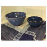 Vtg Blue Crock Bowls +