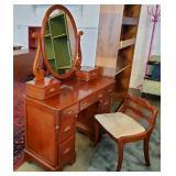 Vtg Cherry Vanity + Chair