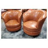 Vtg Leather Swivel Chairs