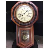 Vtg Regulator Wall Clock in Walnut Case