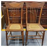 Vtg Walnut Caned Chairs