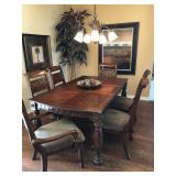 Inlaid Wood Dining Room Table with 1 Leaf, 4 Side Chairs, 2 Arm Chairs - $980
