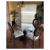 """Wood Pedestal with Glass Top (48"""") Kitchen Table with 4 Chairs (Made for """"Whitewood"""" /Thomasville, N"""