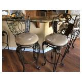 4 Metal Bar Chairs with Upholstered Seats - $110 EACH