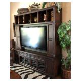 Cherry Stain Media Wall Unit (for a large flat screen TV) with CD/DVD Storage, Shelving, Glass-front