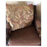 Leather and Wood Scrolled Arm Occasional Chair with Reversible (Leather/Tropical Floral) Upholstery