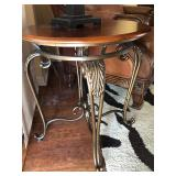 2 Matching Metal Base/Wood Top Side Tables - $60 EACH