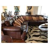 """Brown Leather 3-Piece """"Distinctions"""" Sectional Sofa - $1395"""