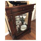 Cherry Stain Wood & Glass Display Cabinet - $175