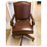 Wood Vintage-Style Desk Chair w/Nailed Leather Upholstery & Casters - $195