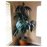Tall Faux Tree in Red Bamboo Slat Container - $150