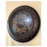 "Large 34"" Diameter Wood & Leather-like Framed Clock - $75"