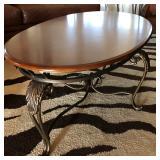 Metal Base w/Wood Oval Top Coffee Table - $85
